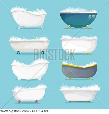 Classic Freestanding Bath With Shampoo, Soap Foam Set. Empty Metal Or Ceramic Retro Bathtubs On Gold