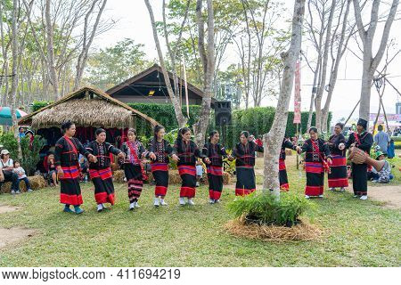 Chiangrai, Thailand - February 16, 2019: Beautiful Hill Tribe Girls In Black And Red  Traditional Co