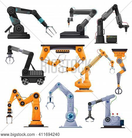 Industrial Robot Manipulators, Robotic Arms Or Mechanical Hands. Vector Manufacturing Automation Tec