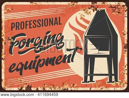 Blacksmith Forging Equipment, Metal Rusty Plate With Steel Welding Tools, Vector. Smith Forging Equi