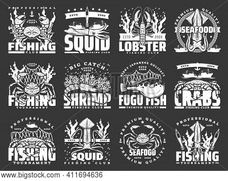 Sea Fishing Isolated Vector Icons, Seafood Catch Tournament And Fishery Store Labels. Fisher Equipme