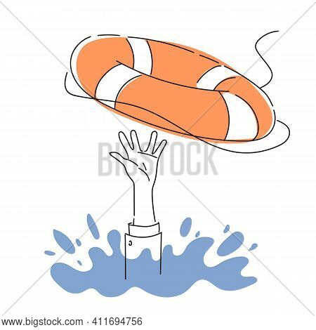 Salvation Of A Drowning Person. The Person Is Drowning In Water. Economic Crisis. Lifebuoy. Flat Col