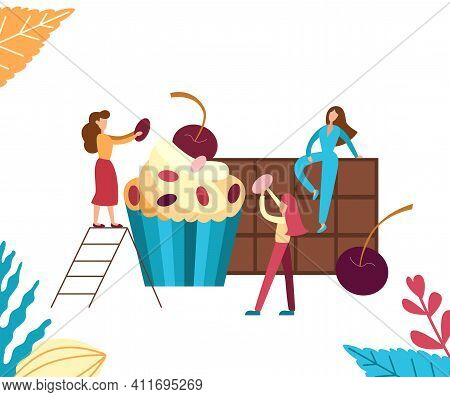 Bakery Concept With Tiny People For Cafe. Sweet Woman Decorate Cake With Chocolate And Berry. Vector