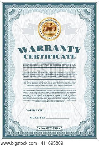 Warranty Certificate With Top Award Gold Seal. Vector Quality And Customer Satisfaction Guarantee Te