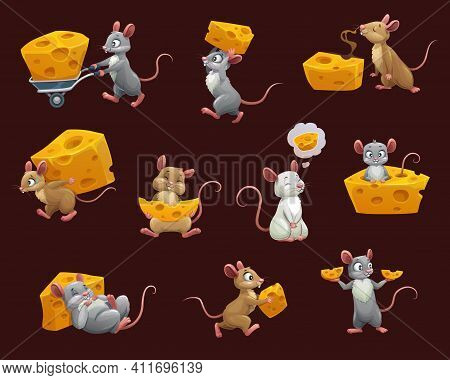 Mouse And Rat With Cheese Cartoon Characters. Vector Rodent Animals With Cute Faces, Funny Brown, Gr