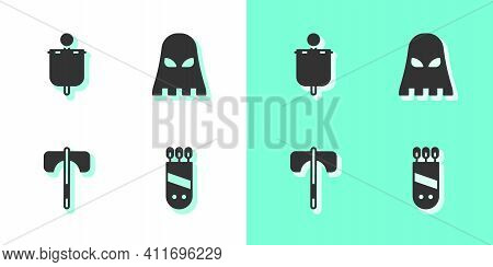 Set Quiver With Arrows, Medieval Flag, Axe And Executioner Mask Icon. Vector