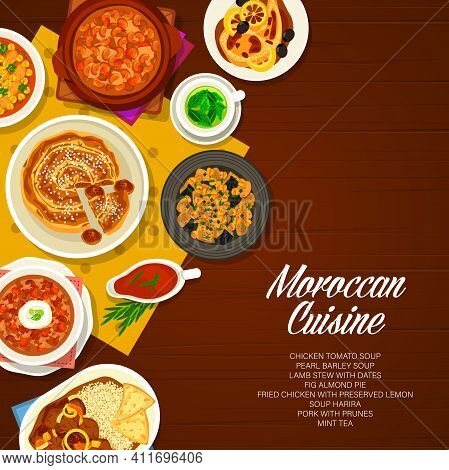 Moroccan Cuisine Restaurant Dishes Banner. Fig Almond Pie And Pork Meat With Prunes, Chicken Tomato,