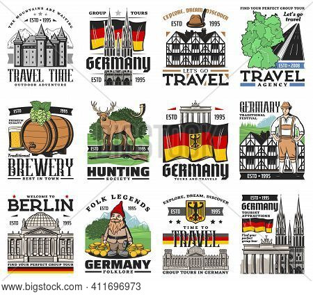 Germany Travel Icons, German Map, Berlin And Munich Landmarks, Vector. German Tourism And Culture Sy