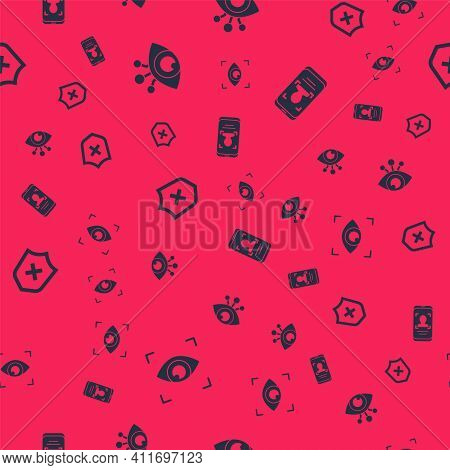 Set Eye Scan, , Shield With Cross Mark And Mobile And Face Recognition On Seamless Pattern. Vector