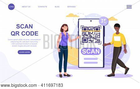 Qr Code Scanning, People Use Smartphone And Scan For Payment. Flat Abstract Metaphor Cartoon Vector