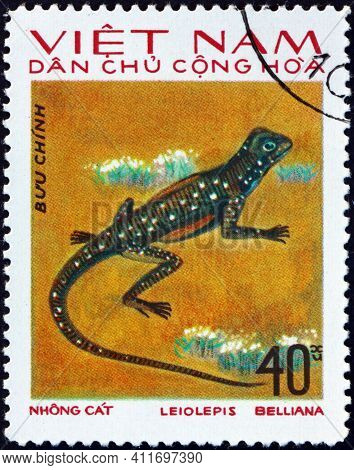 Vietnam - Circa 1975: A Stamp Printed In Vietnam Shows Butterfly Lizard, Leiolepis Belliana, Is A Wi