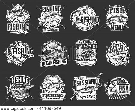 Fishing Sport Icons Set. Sea And River Fishes, Pike, Perch And Bream, Marlin, Tuna And Salmon, Floun