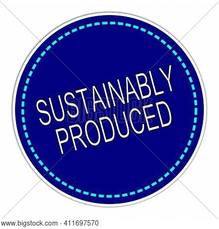 Sustainably Produced Sticker Blue On White Background - Illustration