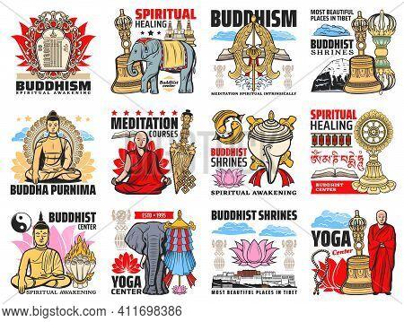 Buddhism Religion Icons, Buddha Meditation And Buddhist Zen Symbols, Vector. Buddhism Spiritual Medi