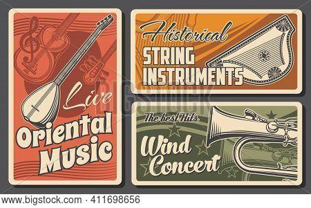 Musical Instruments Of Classic, Ethnic And Oriental Music Retro Design. Vector Tube, Saz, Tanbur And