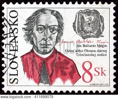 Slovakia - Circa 2003: A Stamp Printed In Slovakia Shows Father Jan Baltazar Magin, Slovak Poet And