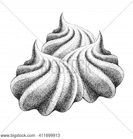 Set Of Airy French Meringue Twirls, Bunch Of Marshmallow, Zephyr. Vector In Graphic Vintage Retro. S