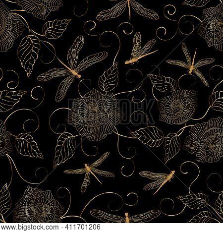 Pattern With Flowers And Dragonflies.flowers And Dragonflies Of Gold Color In A Vector Pattern On A