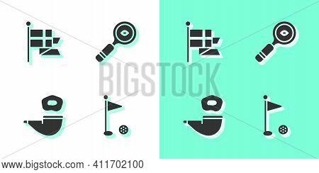 Set Golf Flag, England On Flagpole, Smoking Pipe And Magnifying Glass Icon. Vector