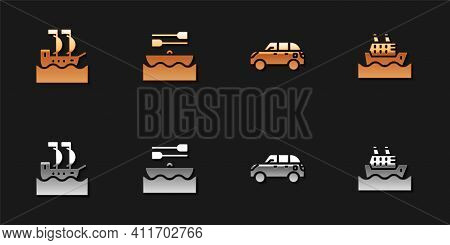 Set Sailboat, Boat With Oars, Hatchback Car And Cruise Ship Icon. Vector