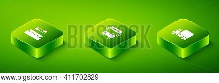 Set Isometric Bus, Delivery Cargo Truck And Boat With Oars Icon. Vector