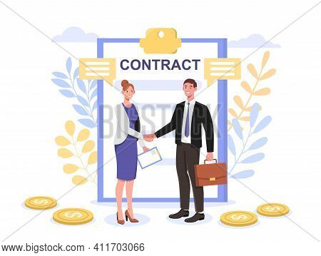 Successful Partnership Contract, Greeting Partner Leadership, Agreement Idea Concepts For Web Banner