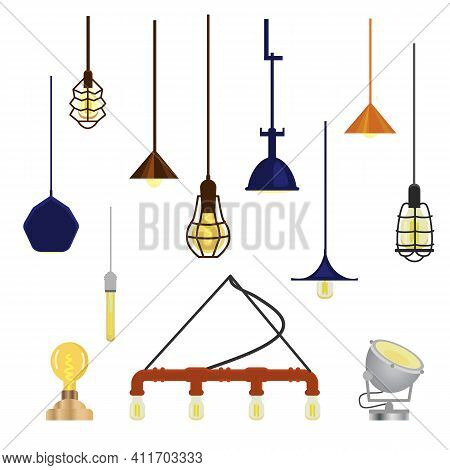 Vector Set Of Modern Loft Lamps. Isolated On White. Elements For Interior Design. Hanging And Floor