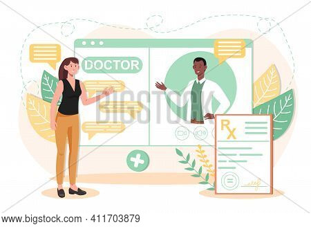 Online Medical Advise Or Consultation Service By Internet. Doctor, Telemedicine, Health Care Medical