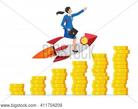 Successful Business Woman Flying On Rocket On Coin Graph Going Up. Businesswoman On Flying Space Shi