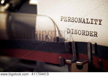Personality disorder phrase written with a typewriter.