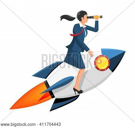 Successful Businesswoman With Spyglass Flying On Rocket. Launch Of Space Ship With Business Woman. N