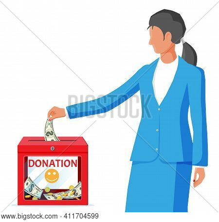 Woman And Donation Box With Money. Donation Container With Golden Coins And Dollar Banknotes. Charit