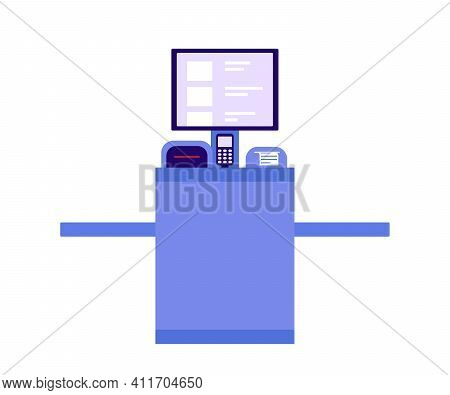 Self Checkout Shop. Paying For Products At Electronic Device. Self-service On Terminal With Scanner.