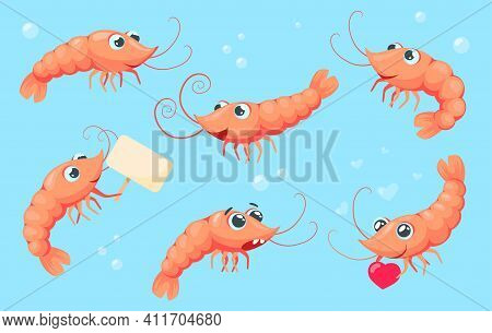 Cartoon Shrimps Collection. Cute And Funny Prawns With Different Emotions Isolated On White Backgrou