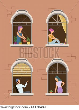 Neighborhood Concept. People Stand On Balconies Or Look Out Of Windows. Man And Woman In The Windows