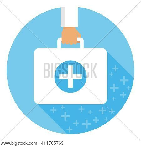 Doctor's Suitcase, Hand Holds Doctor's Suitcase With Long Shadow. Vector, Cartoon Illustration. Vect