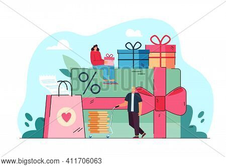 Tiny People With Promotion Gifts And Card Isolated Flat Vector Illustration. Cartoon Characters Gett