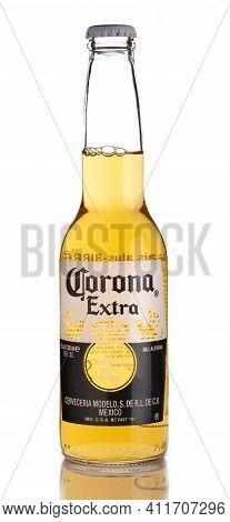 Lviv, Ukraine - April 30, 2020: Corona Beer In Glass Bottle White Background