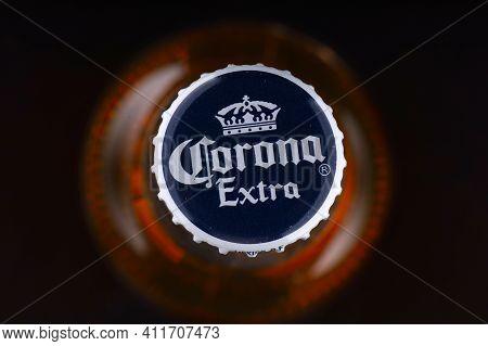 Lviv, Ukraine - April 30, 2020: Corona Beer Lid Closeup