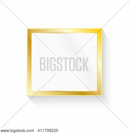 Gold Photo Frame With Corner Line Floral For Picture, Vector Design Decoration Pattern Style.frame F