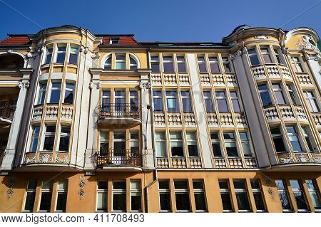 Fragment Of The Facade Of Historic Tenement Houses In Poznan, Monochrome