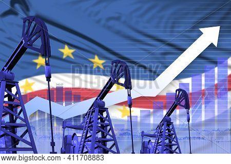Cabo Verde Oil Industry Concept, Industrial Illustration - Rising Up Chart On Cabo Verde Flag Backgr