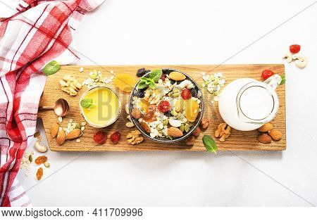 Muesli Bowl, Organic Ingredients For Healthy Breakfast Granola, Nuts, Dried Fruits, Oatmeal, Whole G