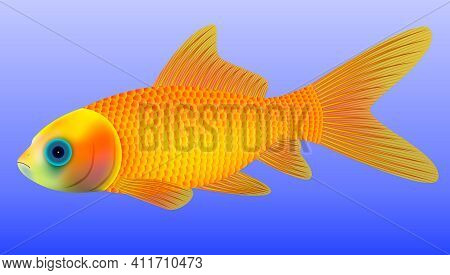 Realistic Vector Goldfish Comet With Scales And Fins On Blue Background