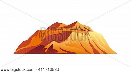 Mountain Plateau In Desert Isolated Cartoon Icon. Vector Natural Landscape, Summits Mount Scenery. C