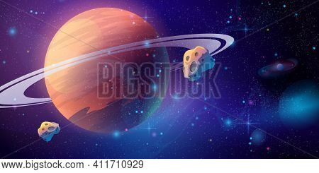 Space Galaxy Background With Saturn Planet And Asteroids, Cartoon Universe Texture. Vector Starry Fu