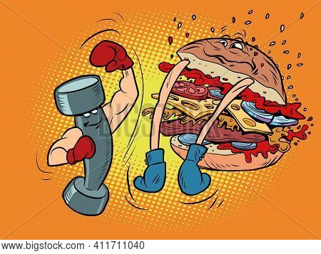 Dumbbell Boxing Against Burger. Sports Lifestyle Versus Harmful. Boxing Competition Between Healthy