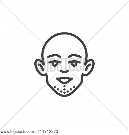 Facial Lift Surgery Line Icon. Linear Style Sign For Mobile Concept And Web Design. Chin Surgery Out