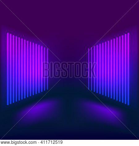 Corridor With Neon Luminous Fluorescent Lamps Turned On. Futuristic Architecture Background