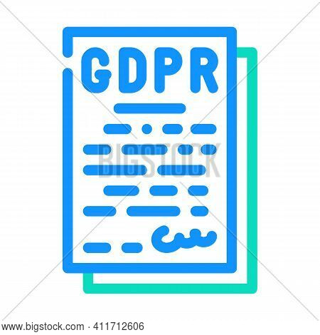 Gdpr General Data Protection Regulation In European Union Color Icon Vector Illustration